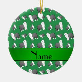 Perros ingleses viejos verdes conocidos adorno navideño redondo de cerámica