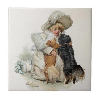 Perros lindos caseros agradables de Terrier del vi Azulejo Cuadrado Pequeño