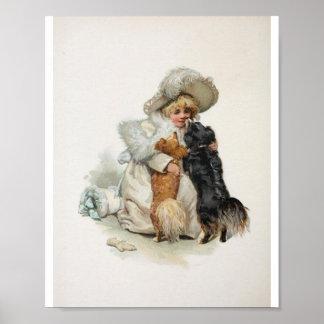 Perros lindos caseros agradables de Terrier del vi Póster