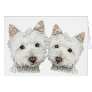 Perros lindos de Westie Tarjeta De Felicitación
