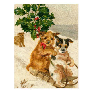 Perros lindos del navidad tarjeta postal