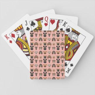 Perros lindos en rosa cartas de juego