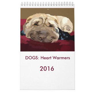 PERROS: Los calentadores 2016 del corazón hacen Calendario De Pared