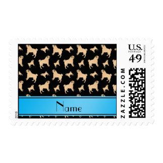 Perros negros conocidos personalizados del barro timbre postal