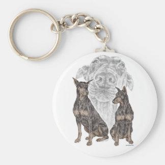 Perros negros del Doberman para las llaves Llavero Redondo Tipo Pin