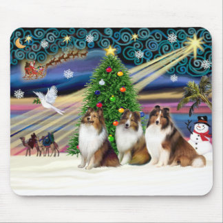 Perros pastor de Shetland mágicos del navidad (Sab Alfombrilla De Ratón