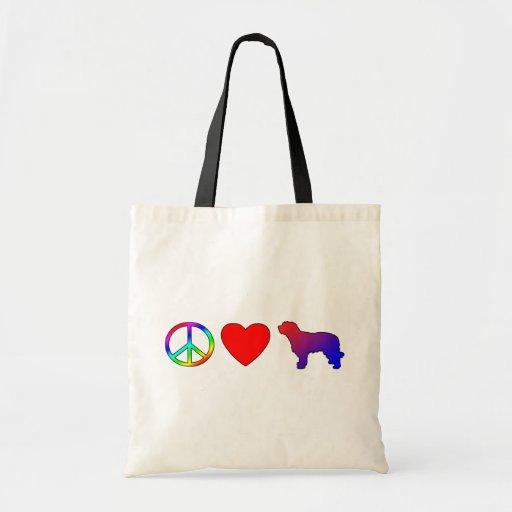 Perros pastor del catalán del amor de la paz bolsas