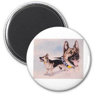 Perros policía para el teléfono de la ayuda de los imán redondo 5 cm