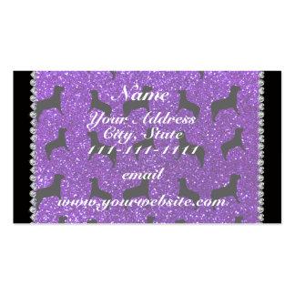 Perros púrpuras personalizados del brillo del añil tarjetas de visita