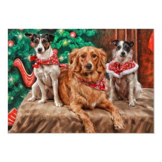 """Perros que celebran navidad invitación 5"""" x 7"""""""