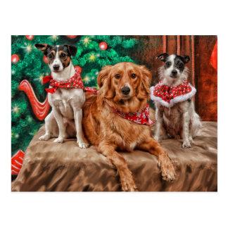 Perros que celebran navidad tarjeta postal