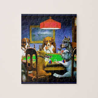 Perros que juegan a un juego del póker rompecabeza