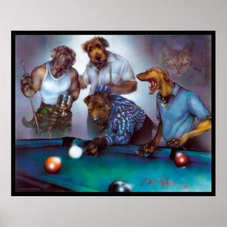 Perros que juegan al billar - Dan Mc Manus Póster