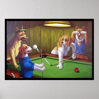 Perros que juegan al billar - de la tabla poster