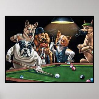 Perros que juegan al billar - dogo para arriba póster
