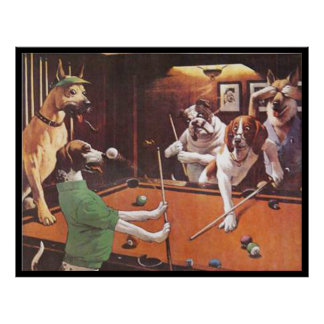 Perros que juegan al billar - el beagle de rasguño impresiones