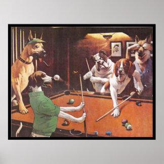 Perros que juegan al billar - el beagle de rasguño póster