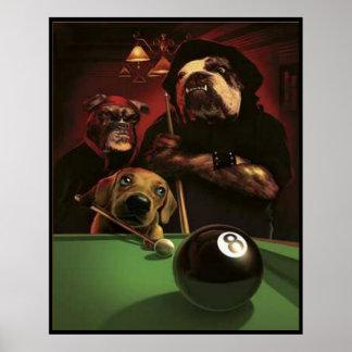 Perros que juegan al billar - el Eightball Póster