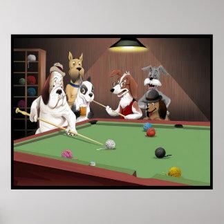Perros que juegan al billar - hilado en el granero póster