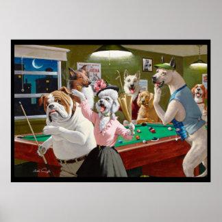 Perros que juegan al billar - rasguñado en el poster