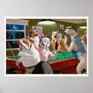 Perros que juegan al billar - rasguñado en el póster