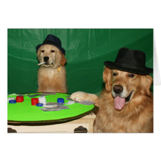 Perros que juegan cumpleaños del póker tarjeta de felicitación