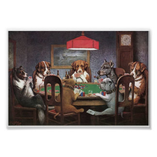 Perros que juegan el póker impresiones
