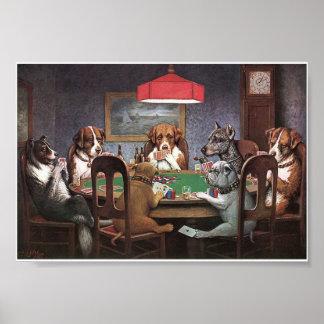 Perros que juegan el póker póster