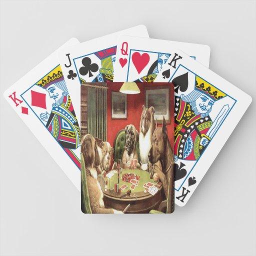 Perros que juegan naipes del póker baraja