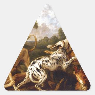 Perros que luchan por Francisco Snyders Pegatina Triangular