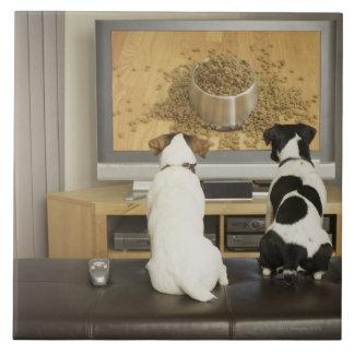 Perros que miran el plato del perro con la comida azulejos cerámicos