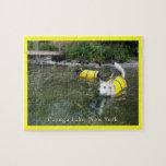 Perros que nadan los chalecos salvavidas puzzles con fotos