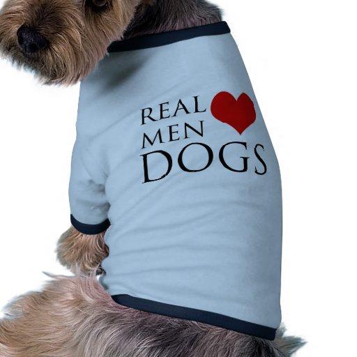 Perros reales del amor de los hombres camiseta con mangas para perro