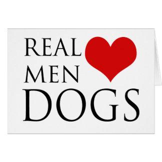 Perros reales del amor de los hombres tarjeta de felicitación