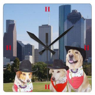 Perros/reloj lindos de Houston del laboratorio Reloj Cuadrado