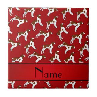 Perros rojos conocidos personalizados del perro de azulejo cuadrado pequeño