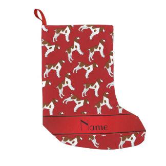 Perros rojos conocidos personalizados del perro de calcetín de navidad pequeño