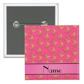 Perros rosados conocidos personalizados de la pin cuadrada 5 cm