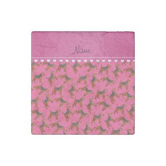 Perros rosados conocidos personalizados de los imán de piedra