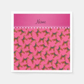 Perros rosados conocidos personalizados de los servilleta de papel