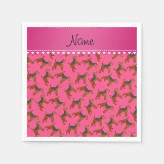 Perros rosados conocidos personalizados de los servilletas de papel