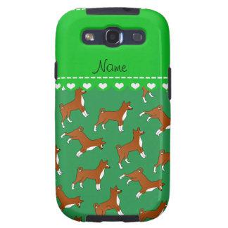 Perros verdes conocidos personalizados del basenji galaxy SIII coberturas