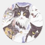 Perros y gatos de mascotas etiqueta redonda