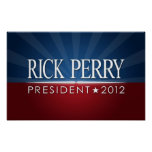 Perry 2012 campaign rally sign print