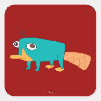 Perry el Platypus Calcomania Cuadradas Personalizadas