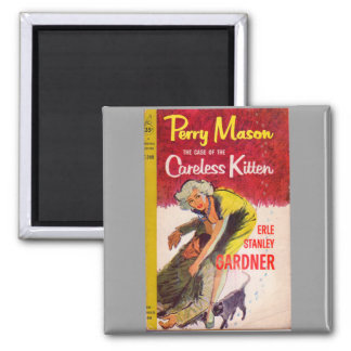 Perry Mason Case of the Careless Kitten book cover 2 Inch Square Magnet
