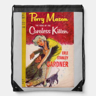 Perry Mason Case of the Careless Kitten book cover Drawstring Backpack