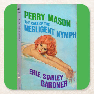 Perry Mason Case of the Negligent Nymph book cover Square Paper Coaster