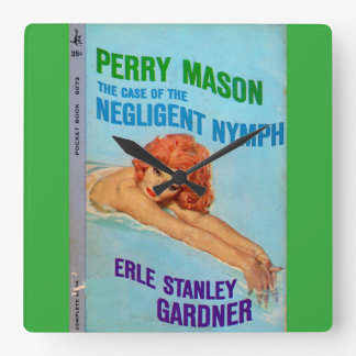 Perry Mason Case of the Negligent Nymph book cover Square Wall Clock