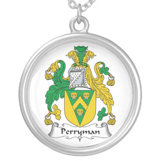 Perryman Family Crest Round Pendant Necklace